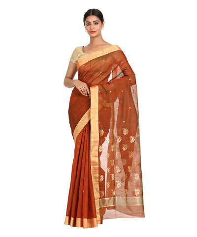 Rust Brown Handwoven Chanderi Sico Saree