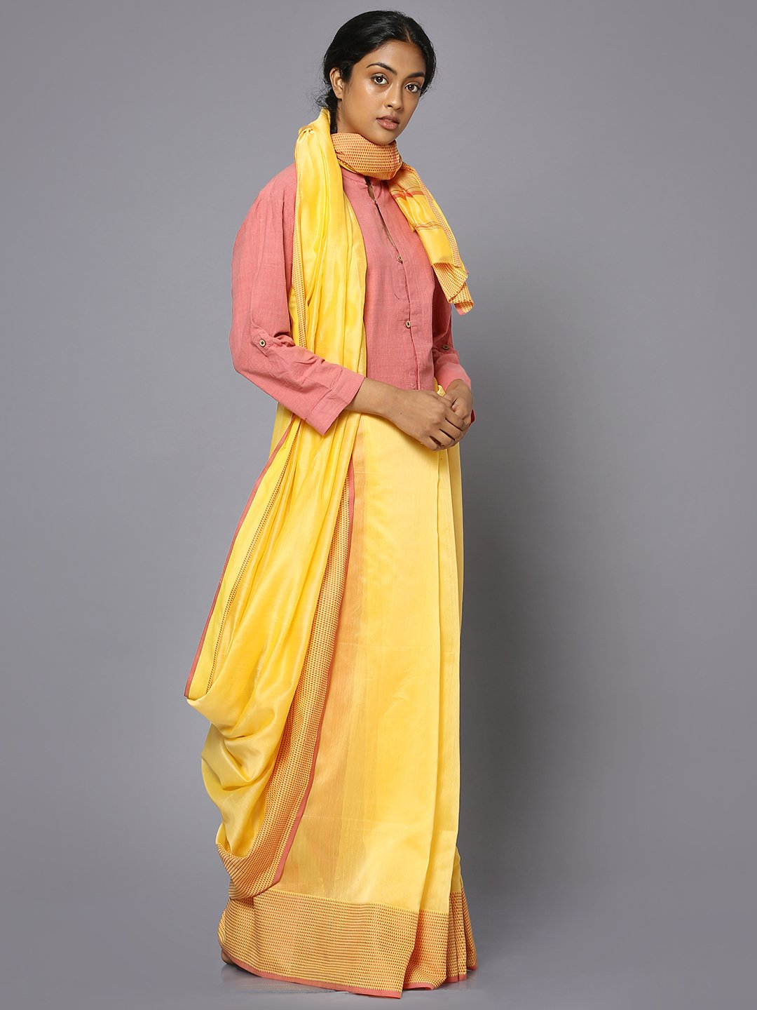 Yellow silk cotton maheshwari saree