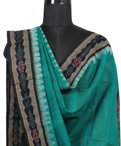 Green Black Ikat Handloom Cotton Dupatta
