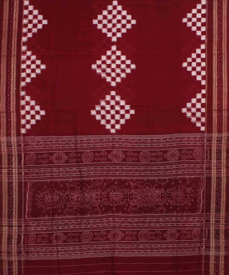 Maroon White Pasapalli Cotton Ikat Saree