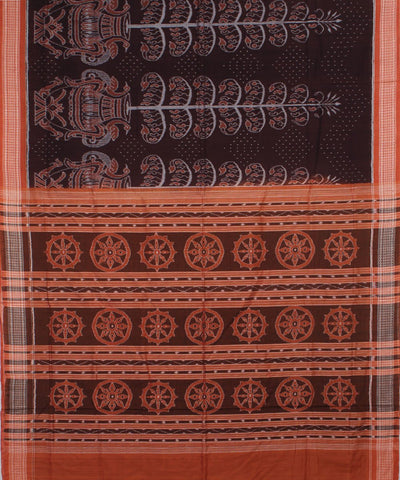 French Puce Peru Sambalpuri Cotton Ikat Saree