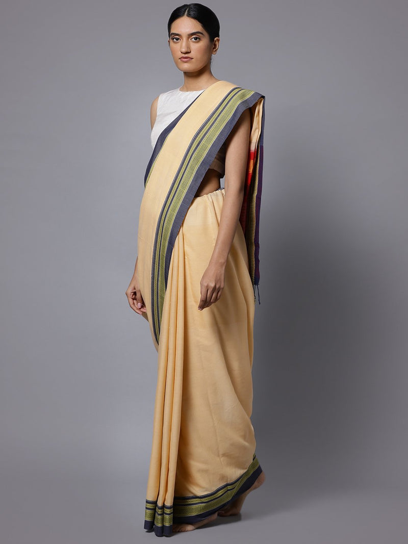 Cream ilkal handloom cotton saree