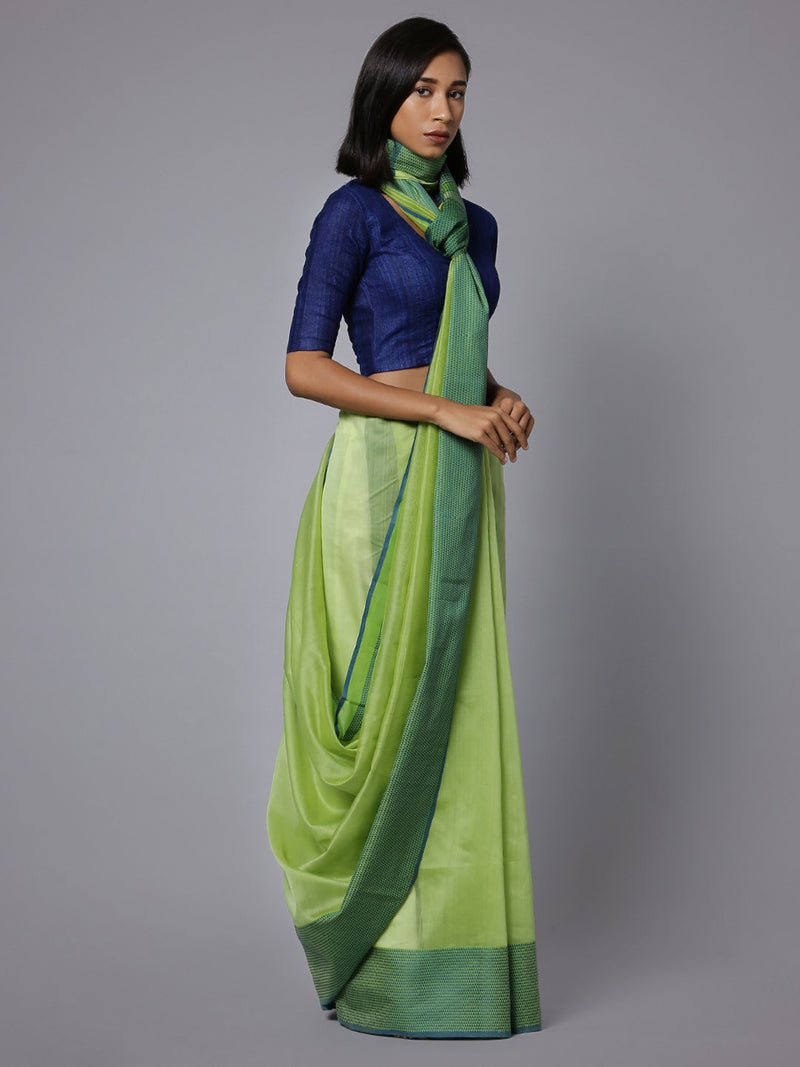 Lime handloom maheshwari cotton silk saree