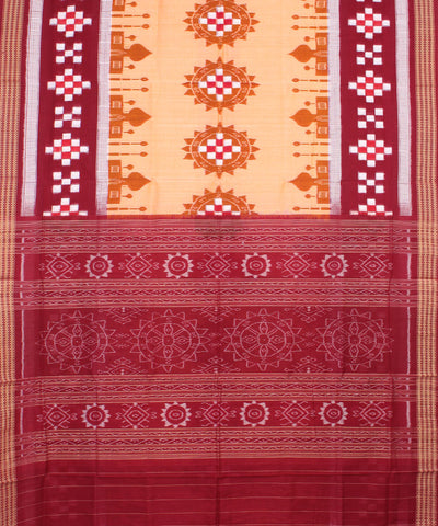 Cream Maroon Handloom Sambalpuri Cotton Saree
