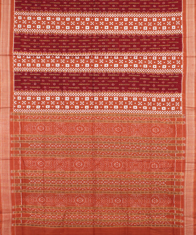 Rust Maroon Sambalpuri Cotton Ikat Saree