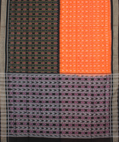 Orange Black Sambalpuri Cotton Handloom Saree