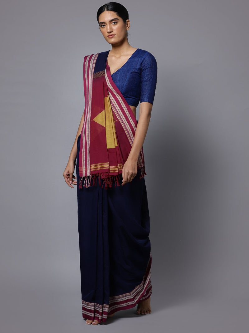Navy ilkal handloom cotton saree