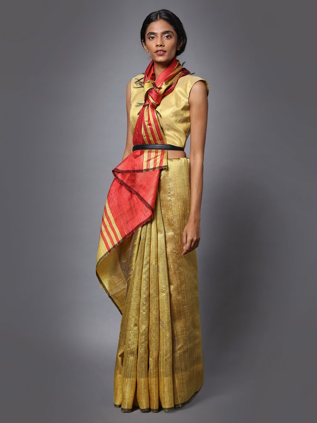 Golden Handloom Tussar Silk Saree