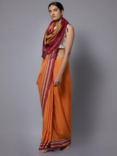 Orange ilkal handloom cotton saree