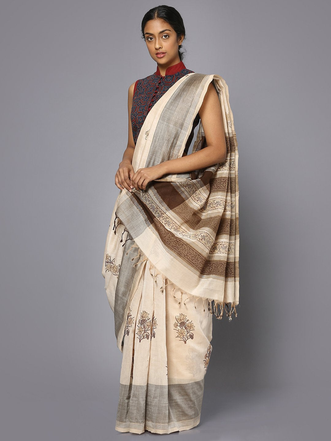 Off white & brown block print cotton saree