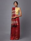Red Maroon Handloom Tussar Silk Saree