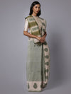 Light green handblock printed cotton saree