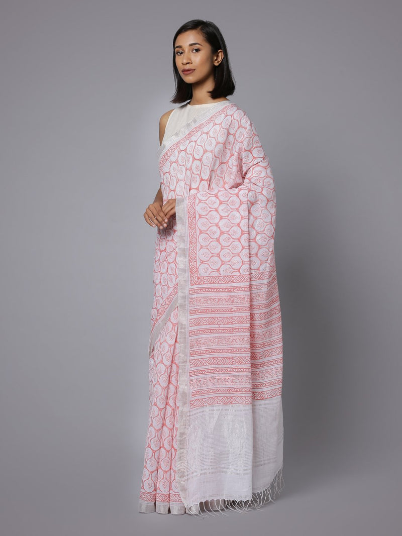 White pink cotton handblock print saree