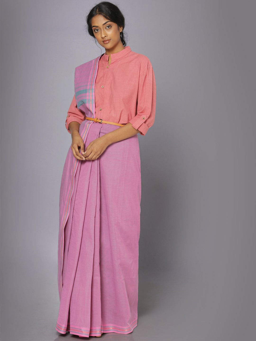Taffy pink mangalgiri cotton saree