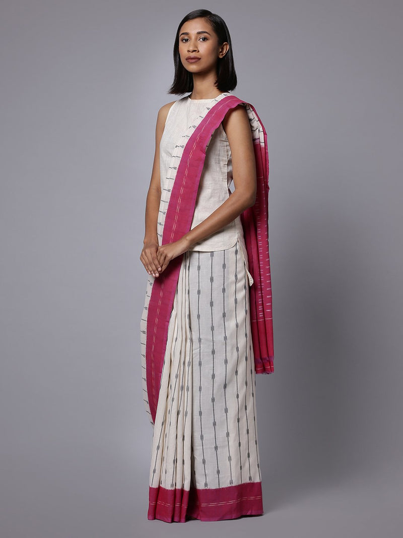 White pink ikat handloom cotton saree