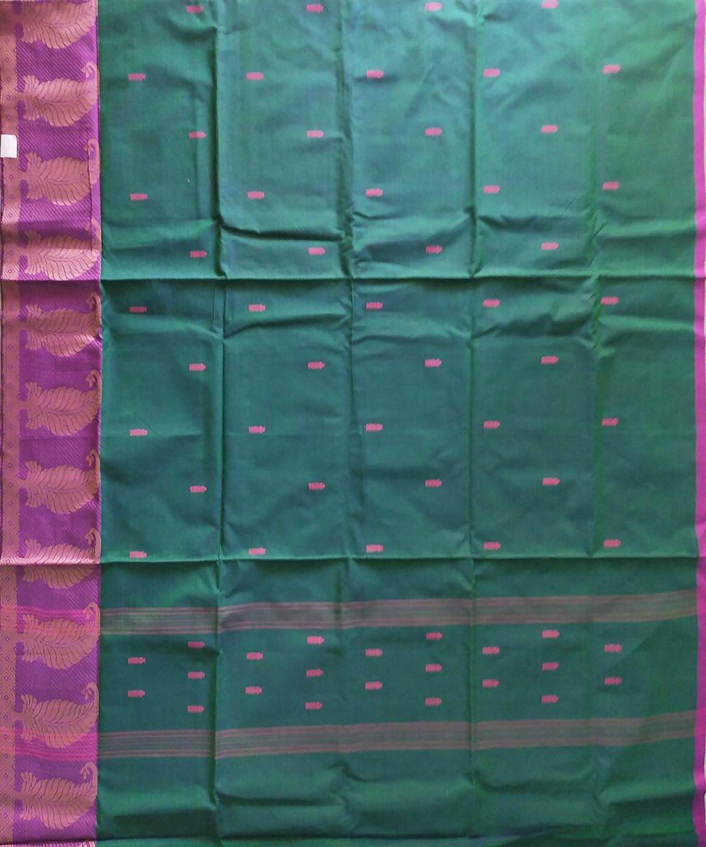 Venkatagiri dark green handwoven cotton saree