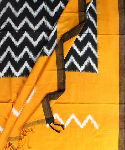 Handwoven Double Ikat Cotton Duppata In Black and Mustard Color