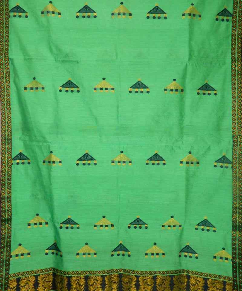 Sea Green Navy Blue Assamese Saree