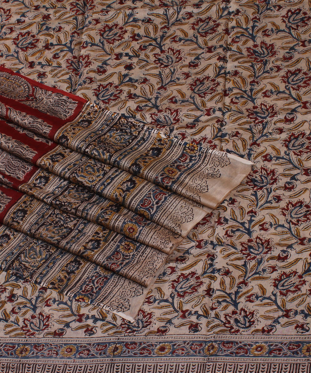 Floral Kalamkari Handprinted Chanderi Silk Saree