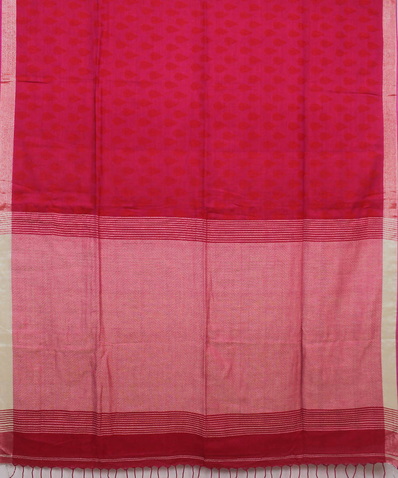 Pink Peach Bengal Handloom Cotton Saree