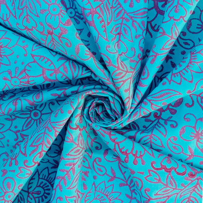 Handwoven hand printed cotton cyan fabric