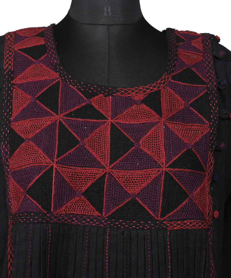 Black Red Handspun Handwoven Lambani Embroidery Cotton Kurta