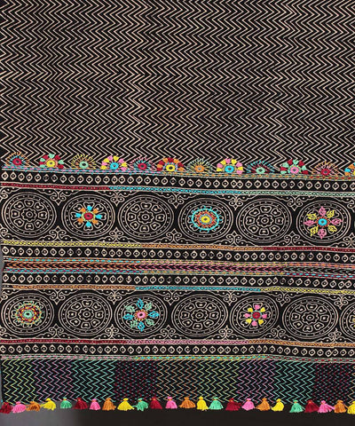 Black Hand Embroidery Printed Cotton Dupatta