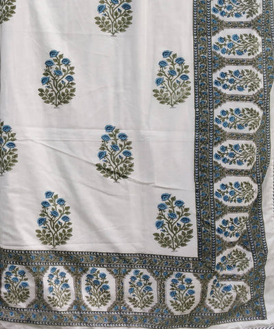 Blue Mehrab Block Print Cotton Dohar