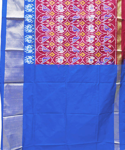 Dark Red with blue handwoven pochampally ikkat silk lehanga material