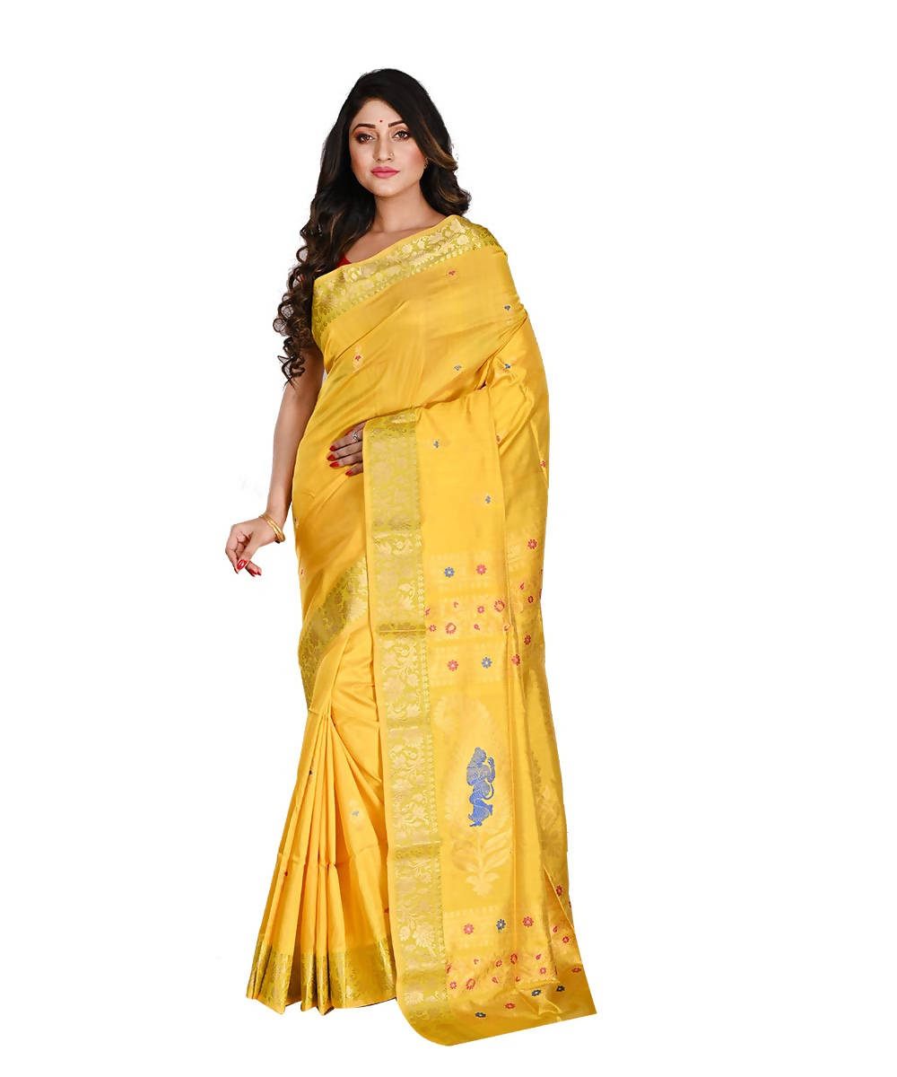 Bengal Handloom Yellow Baluchari Silk Saree