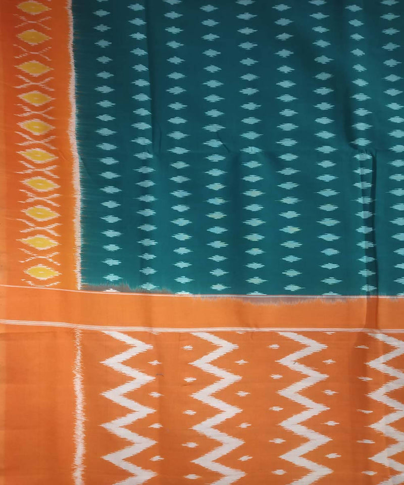 Green orange handwoven cotton ikat pochampally saree