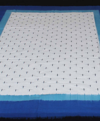 White Blue Pochampally Handloom Bed Cover