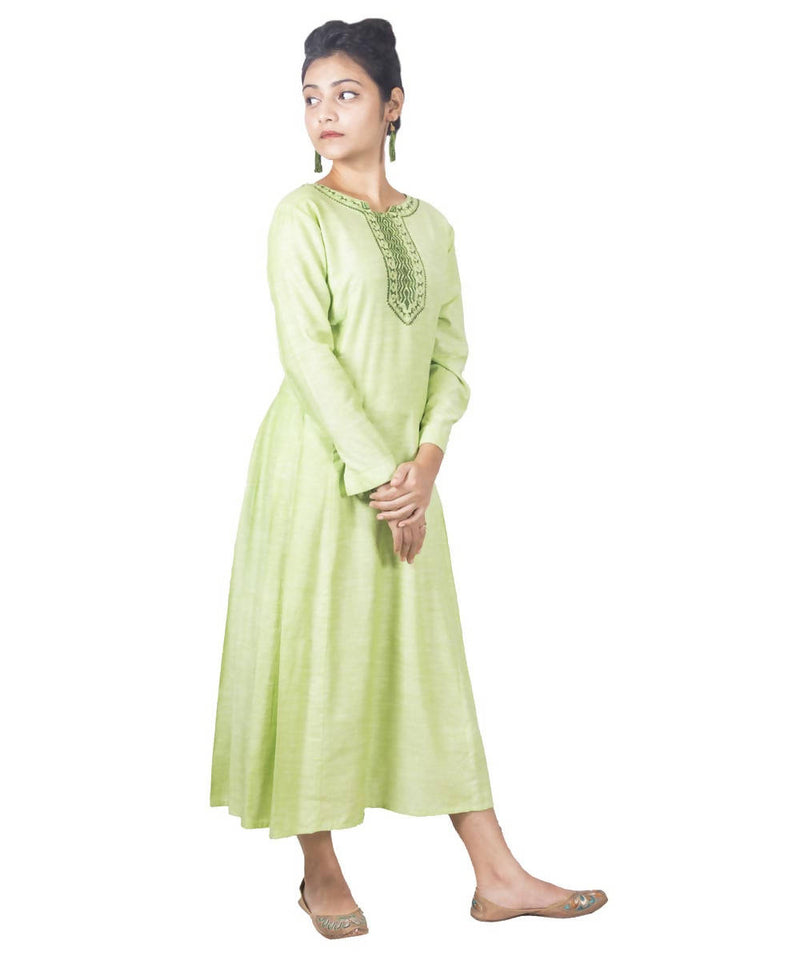 Olive Green Handloom Cotton Kurti with Warli Handpainted Art