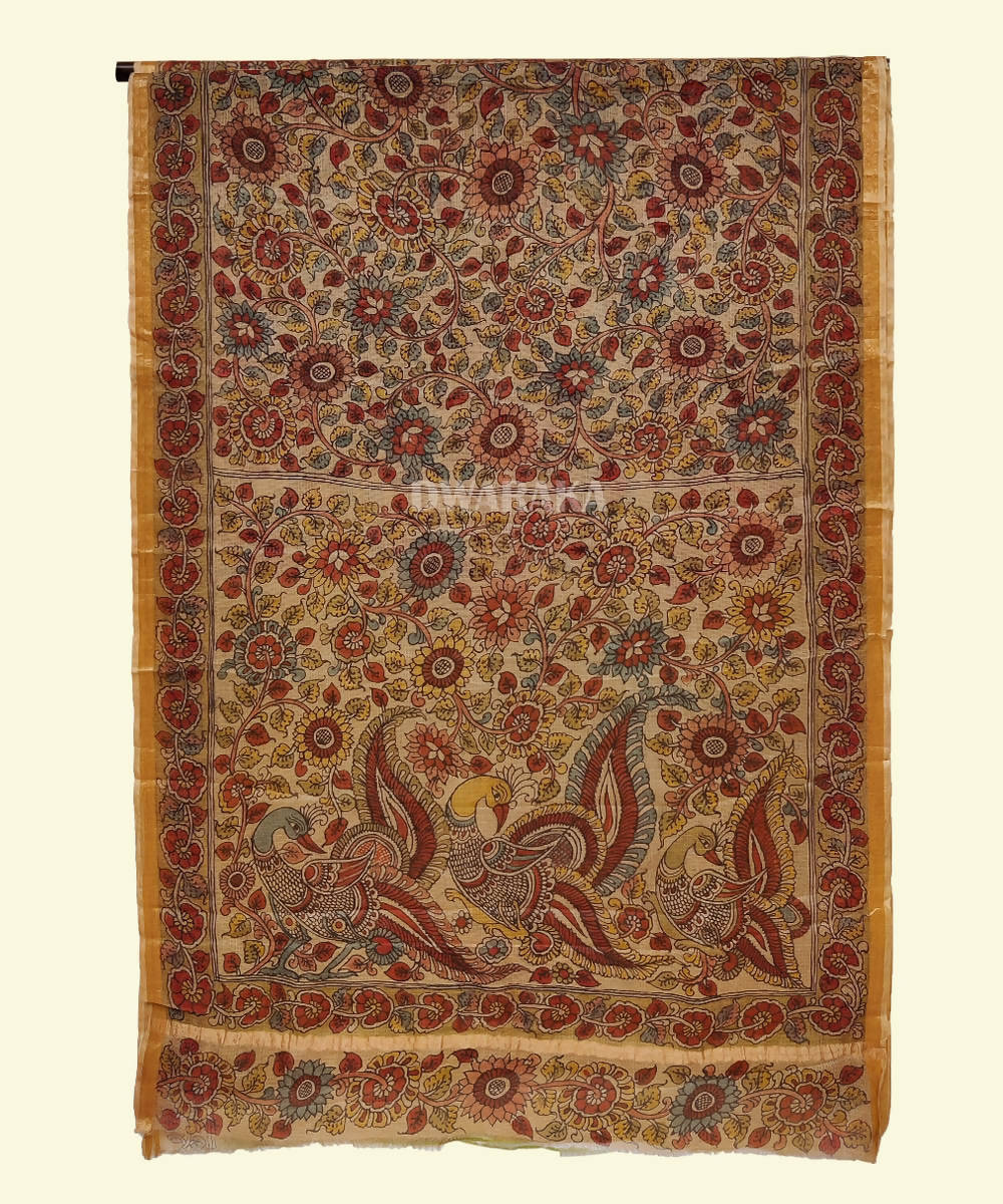 Cream hand paint kalamkari kota silk saree