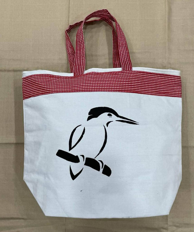 Bird motif offwhite red handwoven cotton handbag