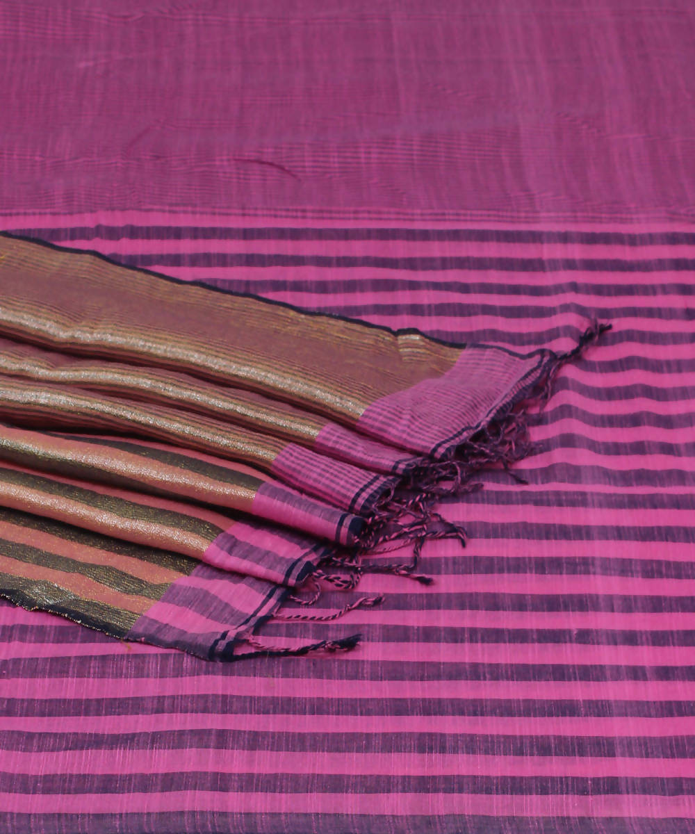 Bengal Handloom Pink Purple Cotton Saree