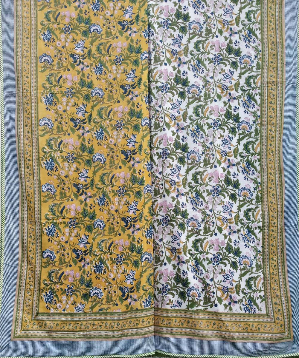 Yellow Garden Block Print Cotton Dohar