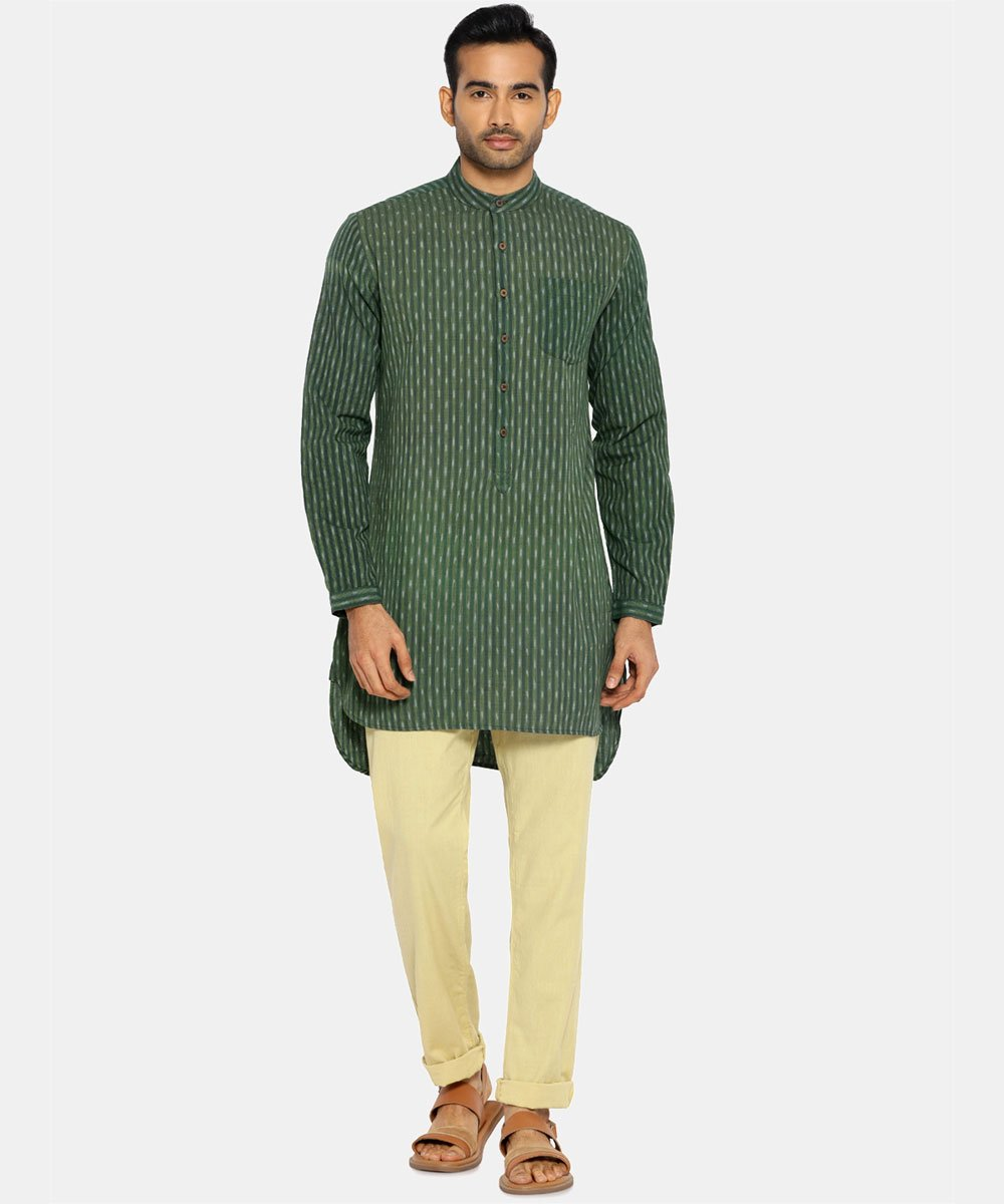 Moss green high low ikat kurta