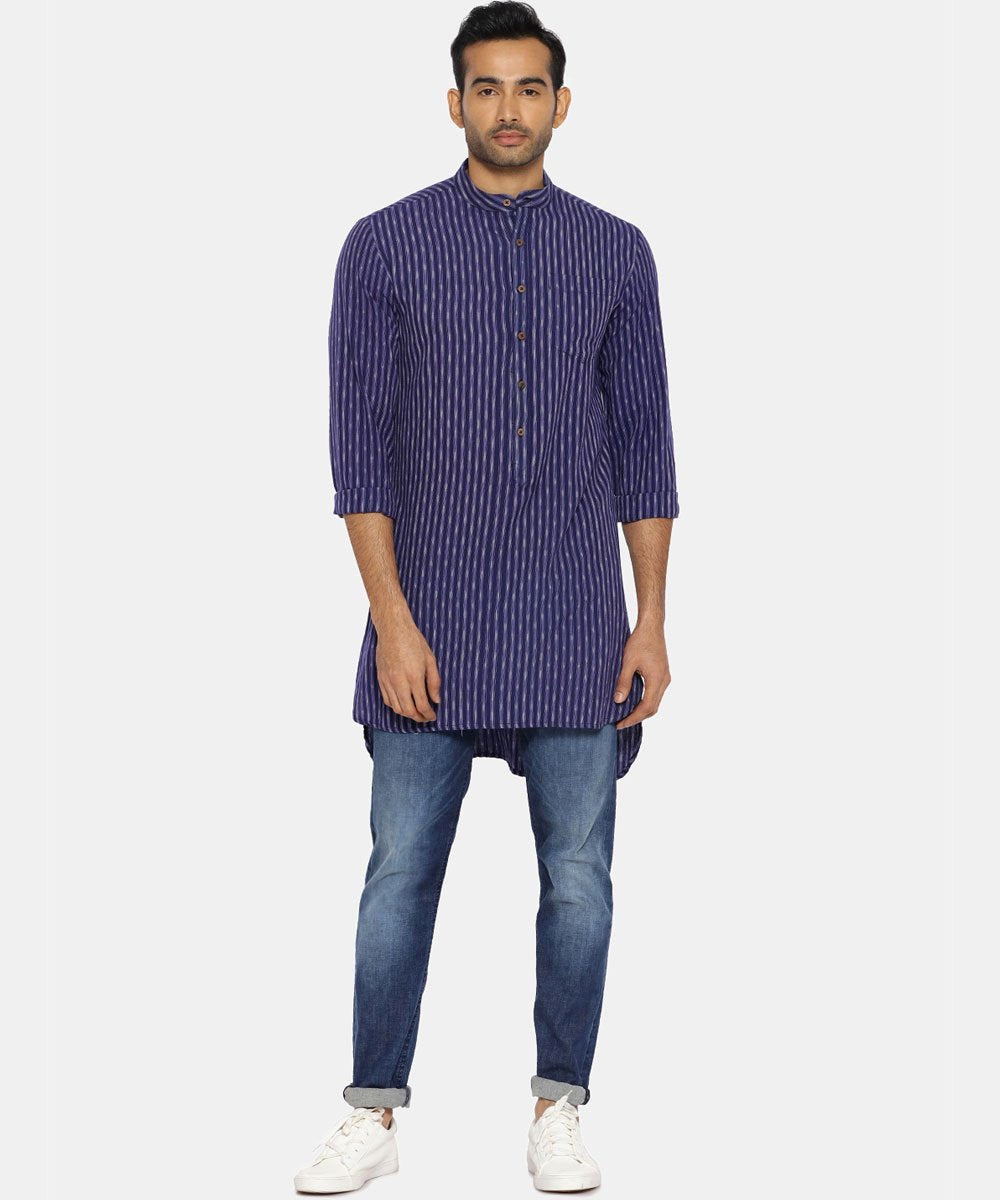Indigo blue high-low ikat kurta