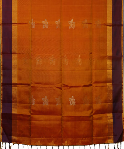 Orange and Blue Handloom Soft Silk Saree