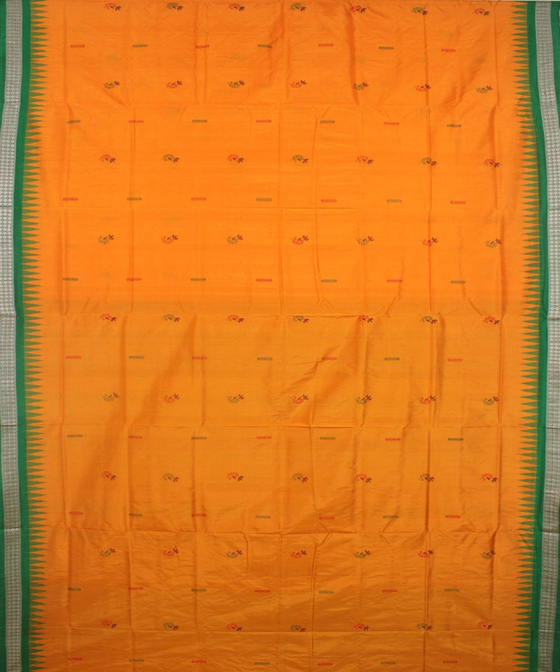 Bomkai Silk Yellow Green Handloom Saree