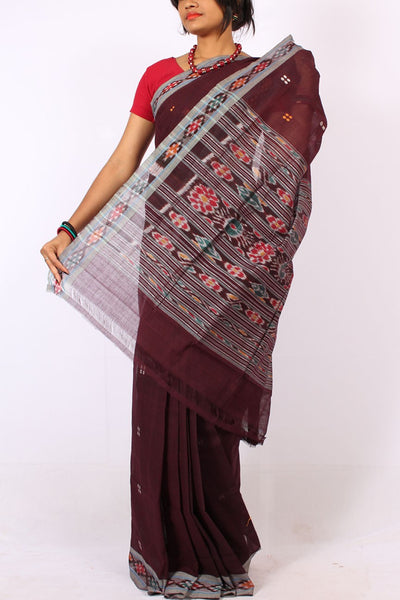 Handwoven Pitala Cotton Saree in Black Bean