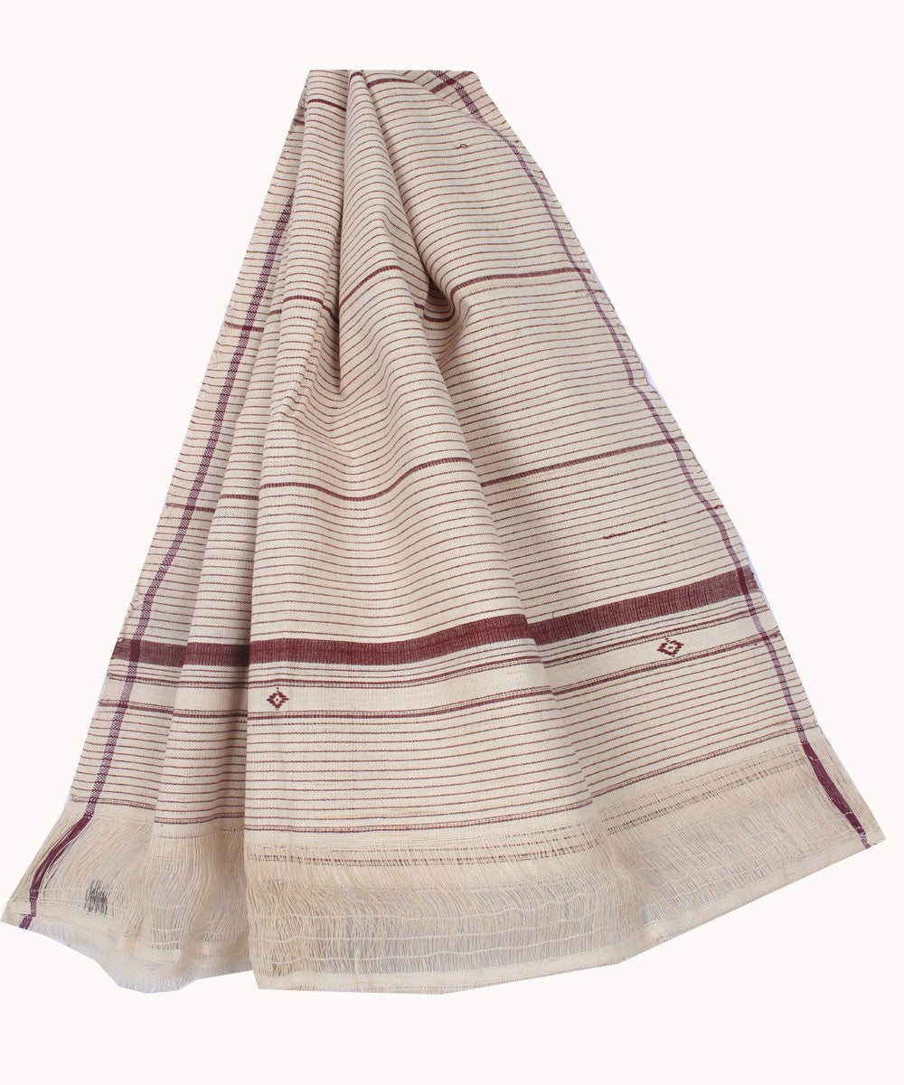 Off White Maroon Handloom Kotpad Cotton Stole