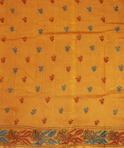 Kantha Stitch Orange Handloom Tussar Saree