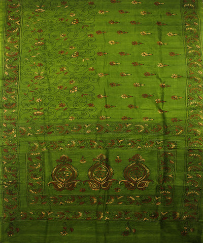 Kantha Stitch Green Handloom Tussar Saree