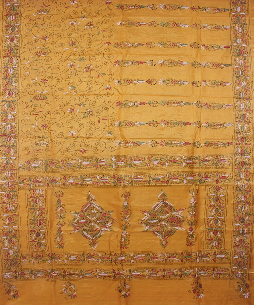 KanthaStitch Light Orange Handloom Silk Saree