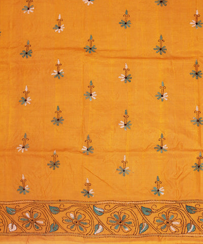 Kantha Stitch Orange Handloom Silk Saree
