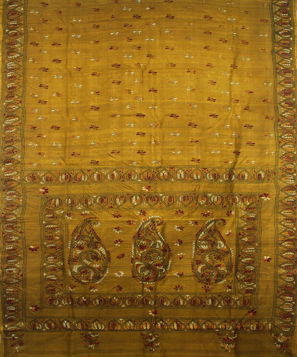 Mustard Handloom Kantha Stitch Silk Saree