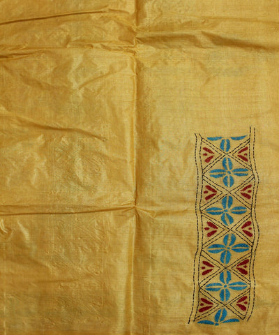 Orange Kantha Stitch Handloom Silk Saree
