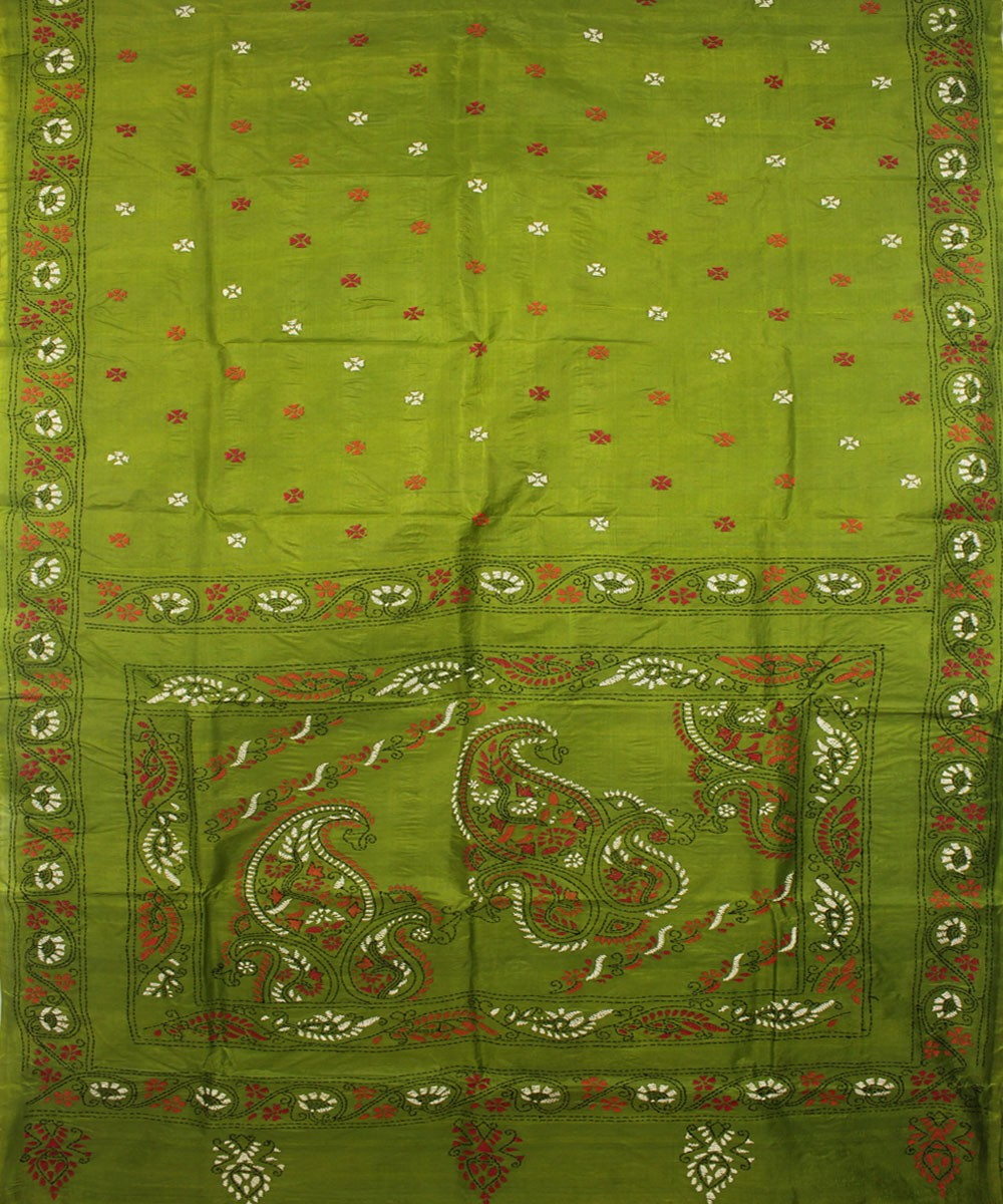 Green Kantha Stitch Handloom Tussar Saree